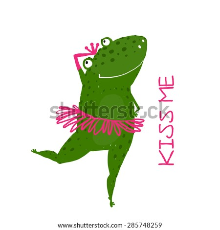 Funny Cute Frog with Crown Dancing. Green fairy tale frog asking for a kiss hand drawn illustration.  Raster variant. - stock photo