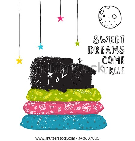 Funny Cute Little Black Monster Sleeping Dreams Come True Greeting Card or Invitation. Sweet kids dreaming at night on pillows fictional character under the moon post card. Raster variant. - stock photo