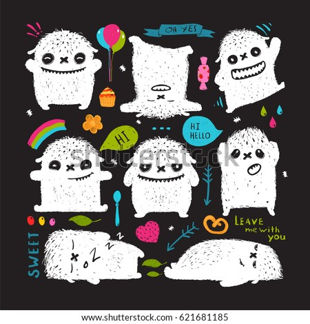 Funny Cute Little Black Monster Holiday Stock Vector 321917801 ...