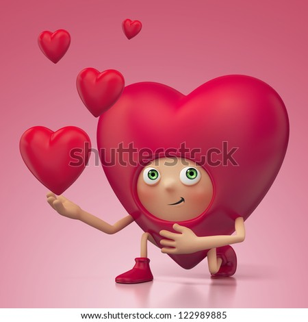 funny cute proposing heart on bended knee.Valentine day greeting. Three dimensional character render