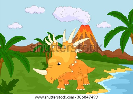 Funny cute styracosaurus on the background of a prehistoric nature. illustration - stock photo