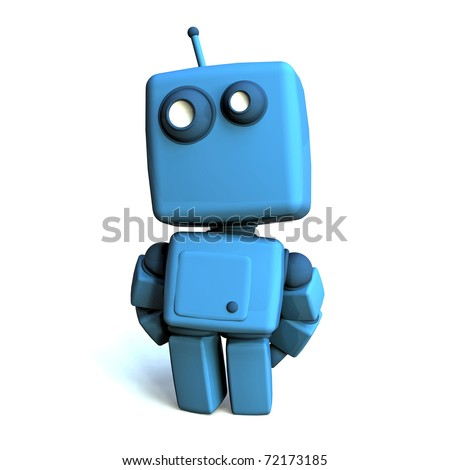Funny 3D Blue Robot on white background - stock photo