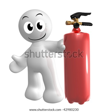 Funny 3d icon figure with fire extinguisher - stock photo
