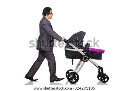Funny dad with baby and pram on white - stock photo