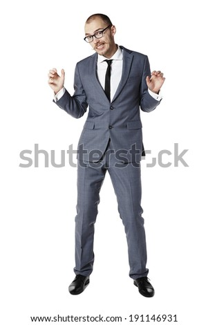 Funny dancing businessman. Copy space. Isolated on white. - stock photo