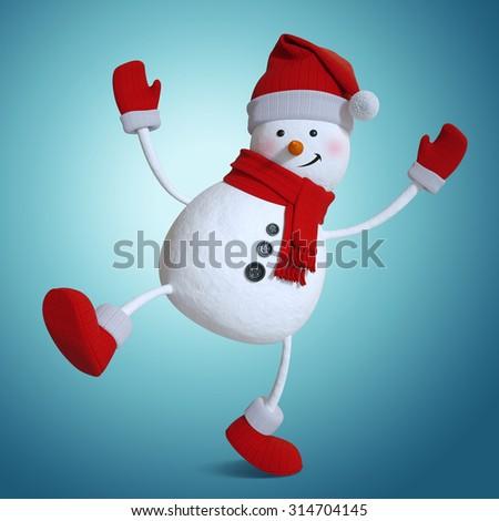 funny dancing snowman, Christmas 3d illustration - stock photo