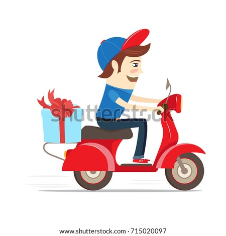 Funny delivery boy delivering gift box 715020097 funny delivery boy delivering gift box with bow by red retro scooter flat design negle Choice Image