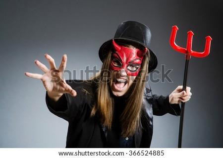 Funny devil in halloween concept - stock photo