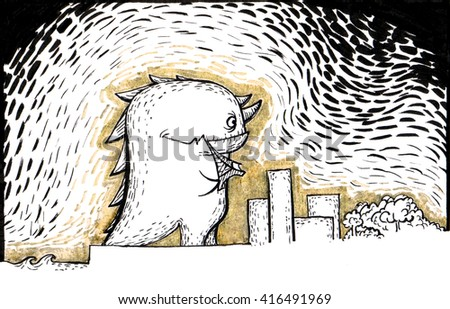 Funny dinosaur eating tower and walking near city. Raster graphic illustration with black and golden ink - stock photo