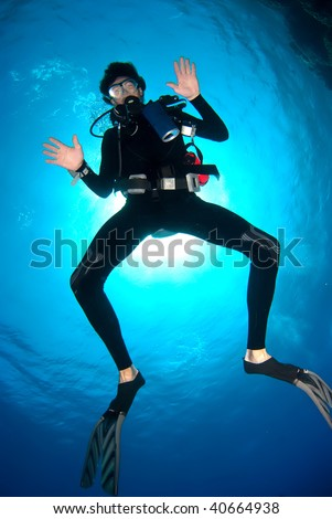 Funny diver under the surface facing hands