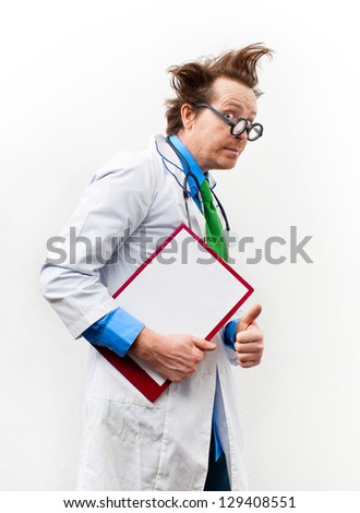 Funny doctor in glasses with notebook - stock photo