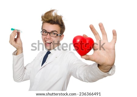 Funny doctor isolated on white - stock photo