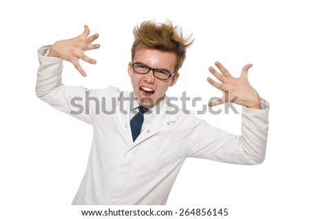 Funny doctor isolated on white