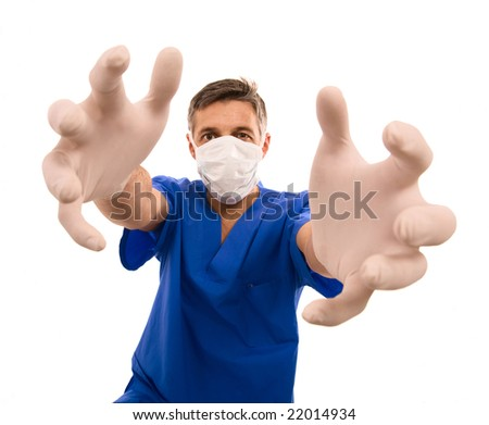 funny doctor with surgical mask and long hands - stock photo