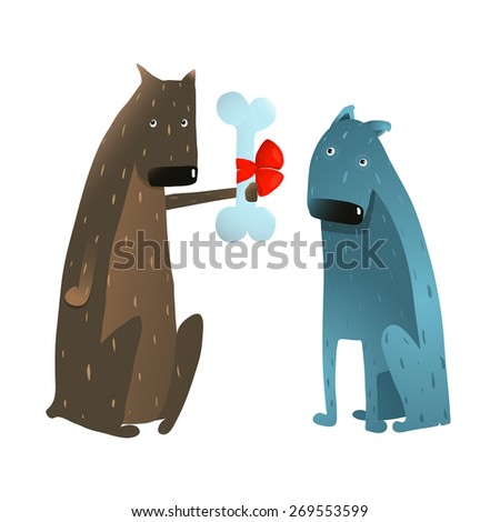 Funny Dog in Love Presenting Bone to Friend. Dog giving a present to a friend colorful cartoon illustration. Raster variant. - stock photo