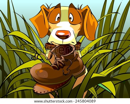 funny dog on the hunt found ragged boot, cartoon illustration - stock photo