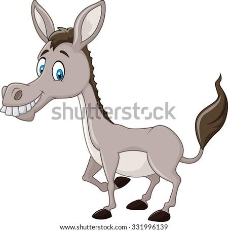 Funny donkey isolated on white background  - stock photo