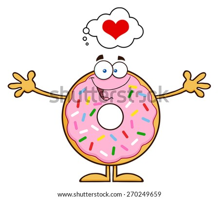 Funny Donut Cartoon Character With Sprinkles Thinking Of Love And Wanting A Hug. Raster Illustration Isolated On White - stock photo