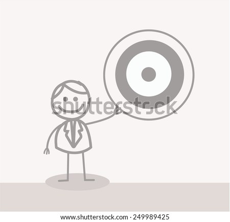Funny Doodle : Businessman Showing Target - stock photo