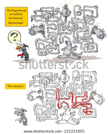 Funny Dragon Maze. Raster version with the answer included. - stock photo