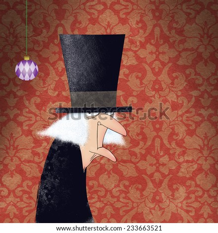 Funny drawing of Ebenezer Scrooge on a Red Damask Background