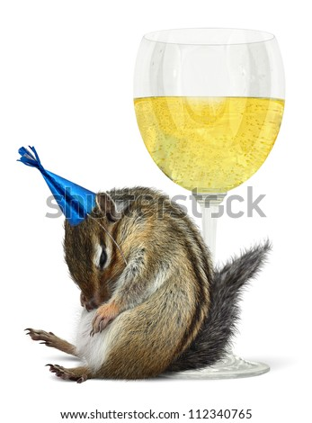 Funny drunk chipmunk with glass, celebrate concept - stock photo