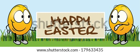 funny easter banner - stock photo
