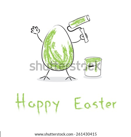Funny Easter egg with paint roller and bucket - stock photo
