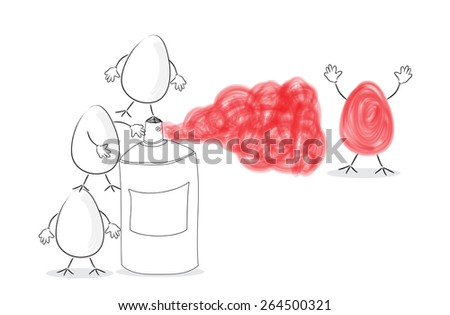 Funny Easter eggs concept - stock photo