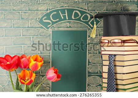 Funny education concept with unusual teacher from books - stock photo