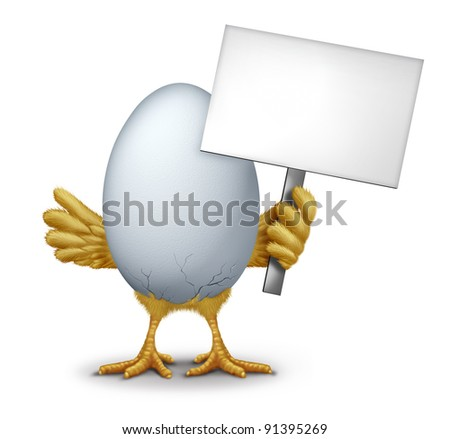 Funny egg holding a blank sign with humorous hatching baby bird chick breaking through the thin shell showing new life as a symbol of early bird and morning announcement. - stock photo