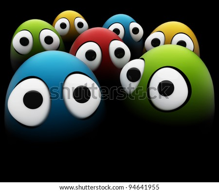 funny eggs as a cartoon 3d characters - stock photo