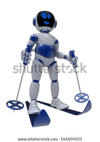 FUNNY EMOTIONAL ROBOT. Cyborg. Isolated character. Skiing. Winter