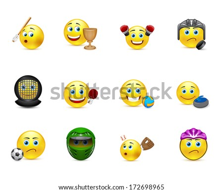 funny expression emoticons with elements of the Olympic Games - stock photo