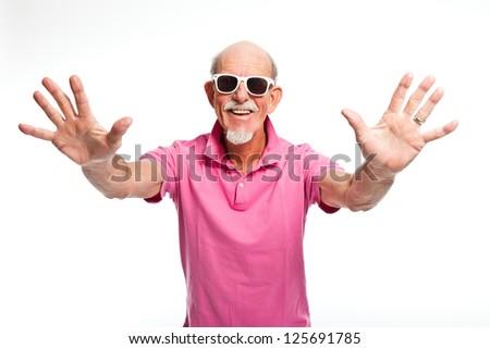 Funny expressive senior man with sunglasses. Isolated. - stock photo