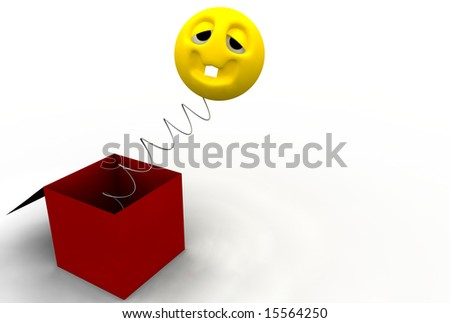 Funny face jumping out from a box - stock photo