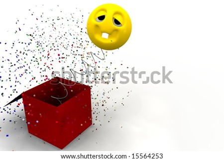 Funny face jumping out from a box with confetti - stock photo
