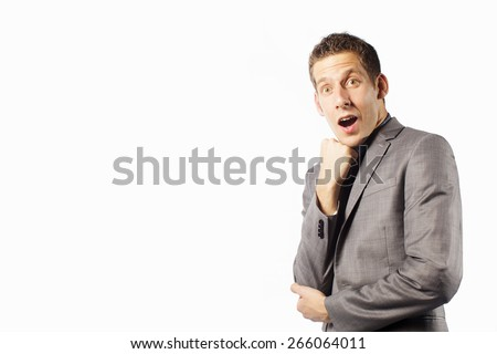 funny  face man  with copy space on white background - stock photo