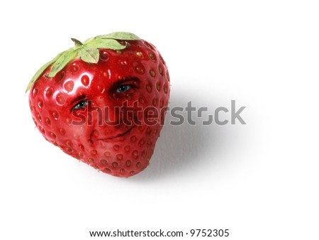 Funny face of strawberry - stock photo