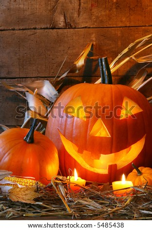 Funny faced pumpkin ready for halloween - stock photo