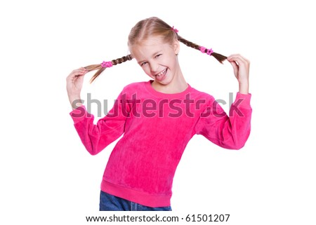 Funny Faces. Girl plays the fool isolated on white - stock photo