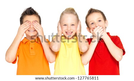 """Funny faces of happy children doing """"See Nothing, Hear Nothing, Say Nothing..."""" isolated on white background - stock photo"""