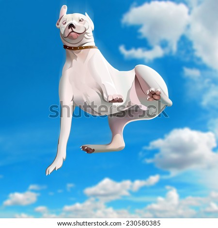 Funny falling dog - stock photo