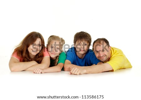 Funny family of four in bright T-shirt on a white background - stock photo