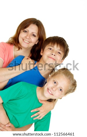 Funny family of three in bright T-shirt on a white background - stock photo