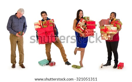 Funny family where everybody gets many christmas presents and poor Daddy only gets a little one. - stock photo