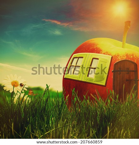 funny farm. abstract fantastic landscape with apple house and beauty flowers - stock photo