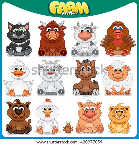 Funny Farm Animals. Set of Colorful Cartoon Illustration. Cute Domestic Pets, Poultry and Livestock - stock photo