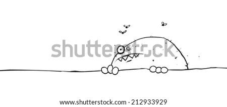 Funny fat monster character peeping over the top of an object or paper cartoon outline illustration - stock photo