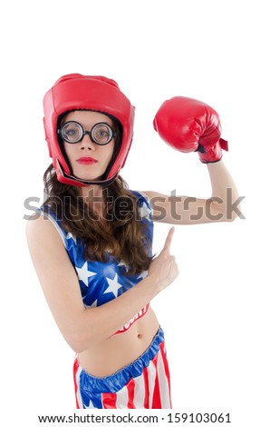 Funny female boxer isolated on white